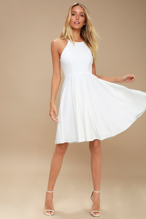990cfbaeefa0a Cute White Dress - Midi Dress - Fit and Flare Dress