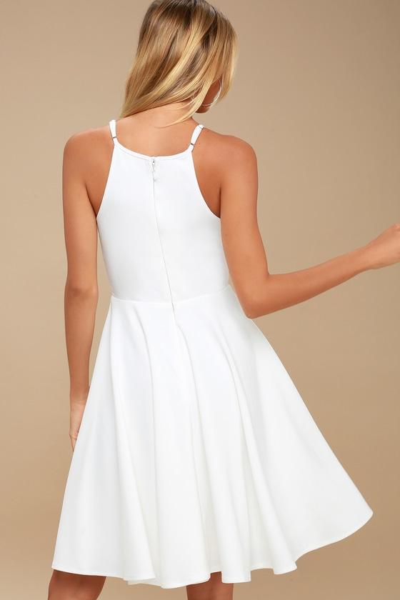Cute White Dress - Midi Dress - Fit and Flare Dress d01634af8