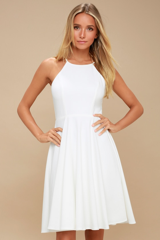 255cef33f9 Cute White Dress - Midi Dress - Fit and Flare Dress