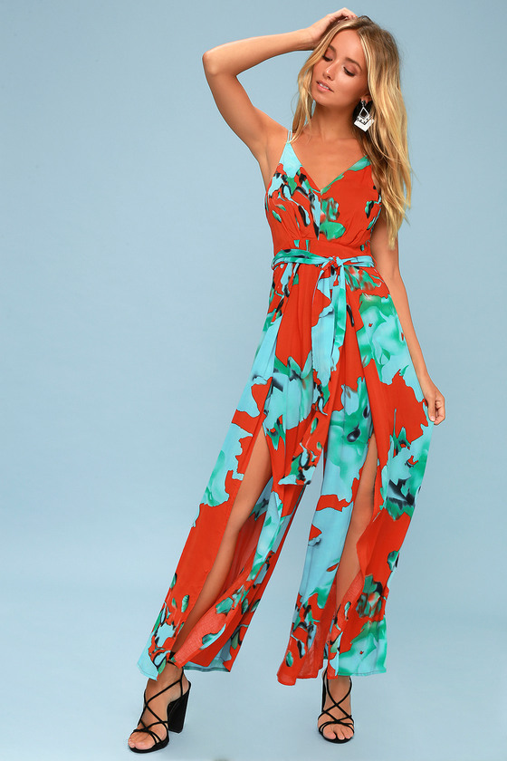 602f82072856 On the Road Alina - Red Floral Jumpsuit - Wide-Leg Jumpsuit