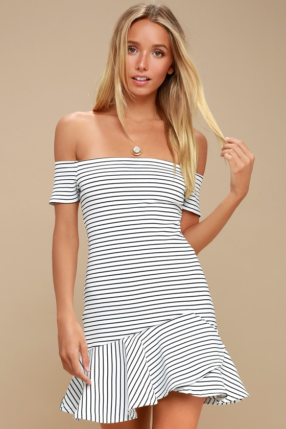 be8ea4bb3b Finders Keepers Sirocco - Striped Off-the-Shoulder Dress