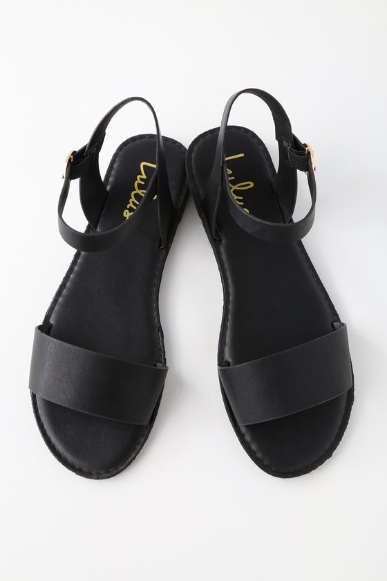 653c9f46f10 Cute Black Sandals - Flat Sandals - Ankle Strap Sandals
