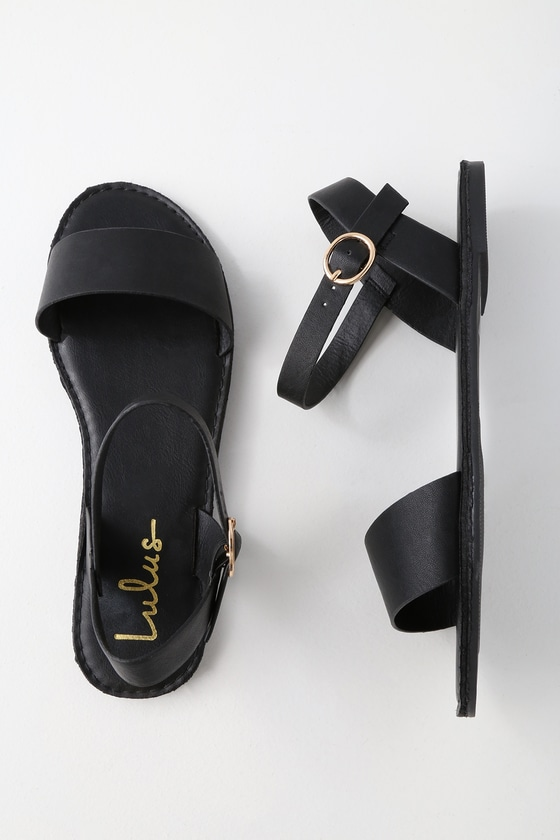 13c3d0a895e7e Hearts and Hashtags Black Flat Sandals