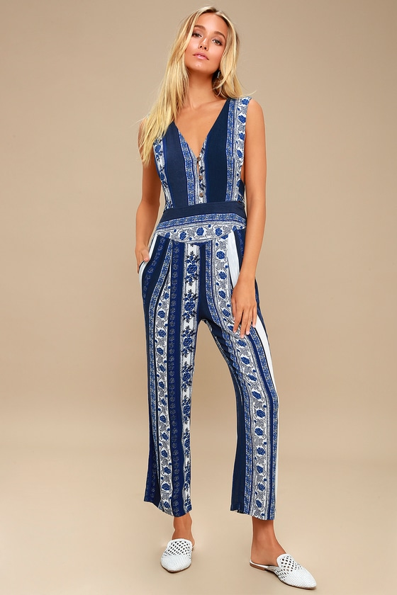 23449f7403e4 Free People All Shook Up - Blue Print Sleeveless Jumpsuit