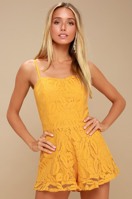 Sunny Spot Mustard Yellow Lace Romper by Ali & Jay