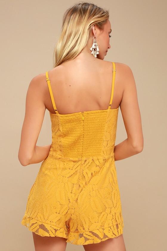 e899a24062e Ali   Jay Sunny Spot - Mustard Yellow Romper - Lace Romper