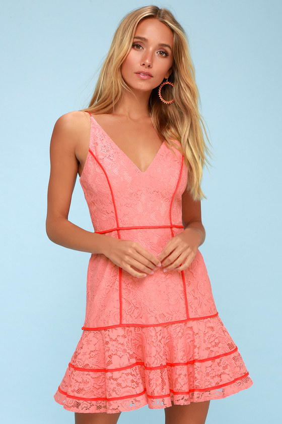 Dreamers Coral Pink Lace Mini Dress by Keepsake