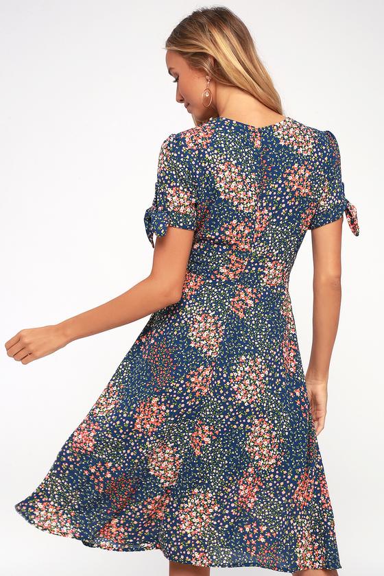 5e564453bb9f Cute Midi Dress - Floral Print Dress - Short Sleeve Dress