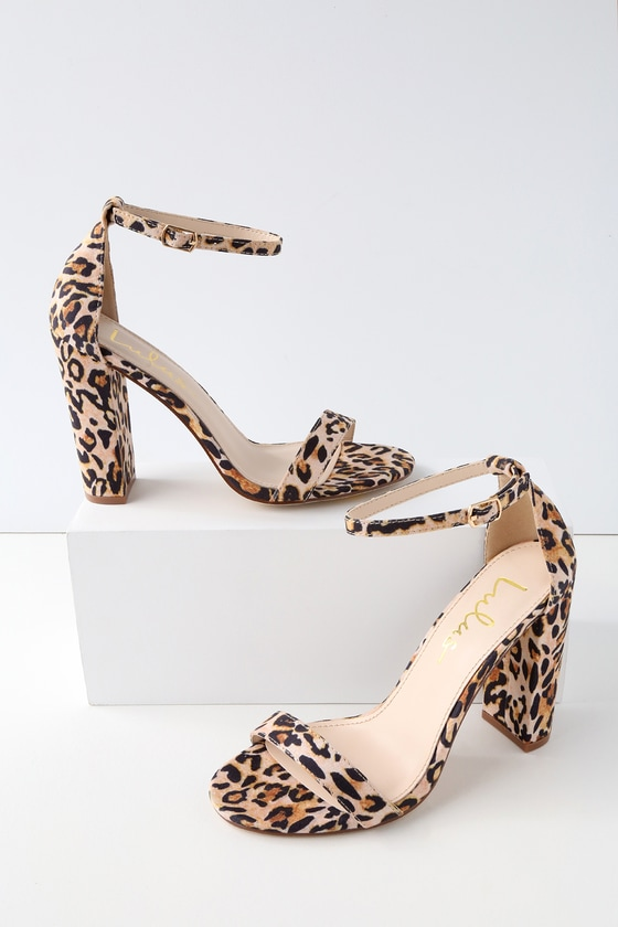 Taylor Leopard Suede Ankle Strap Heels
