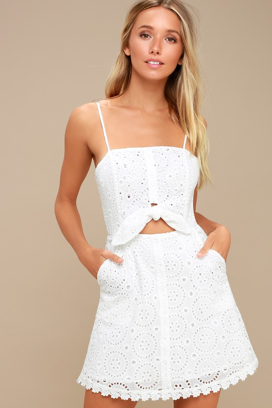 263d02b4d72e7 Lost + Wander Bianca - White Lace Dress - Tie-Front Dress