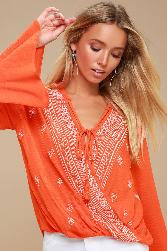 dc9eb496c448 Boho Embroidered Top - Orange Top - Bell Sleeve Top