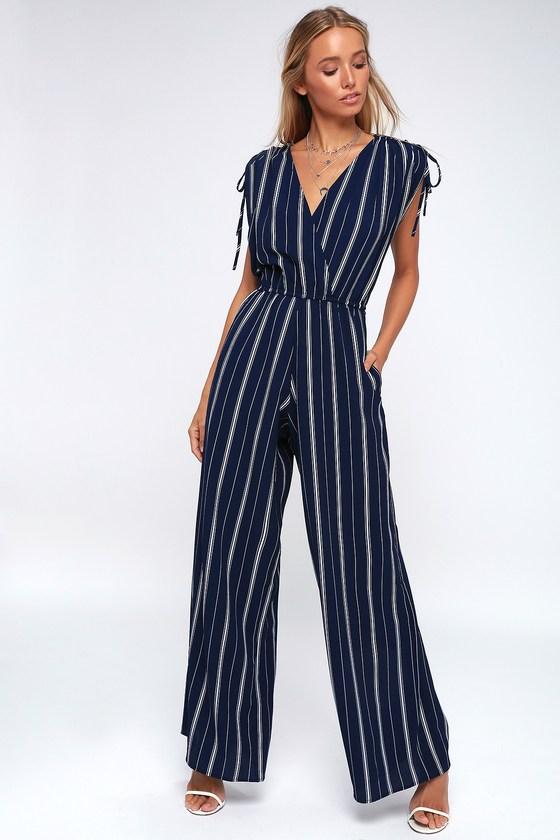 7fa3523d6784 Striped Jumpsuit - Navy Blue Jumpsuit - Wide-Leg Jumpsuit