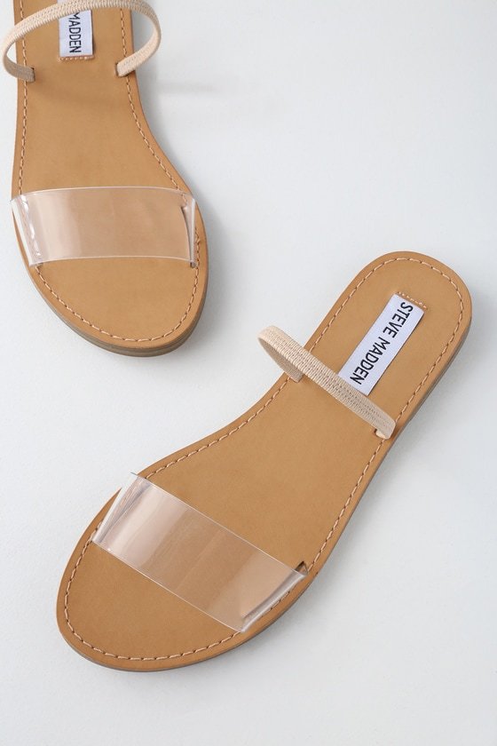 e3fed6cd0edb Steve Madden Dasha - Clear Strap Sandals - Slide Sandals