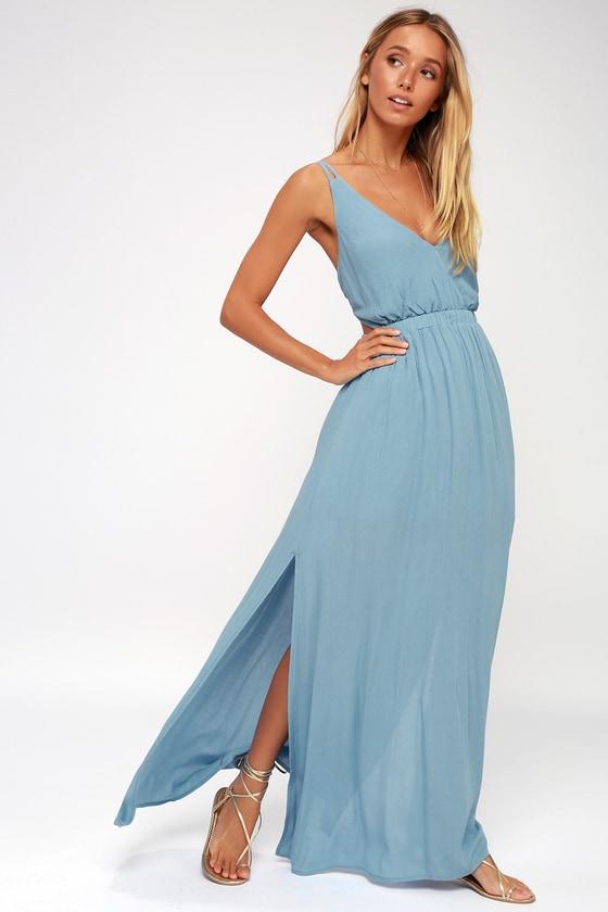Lost in Paradise Slate Blue Maxi Dress - Lulus