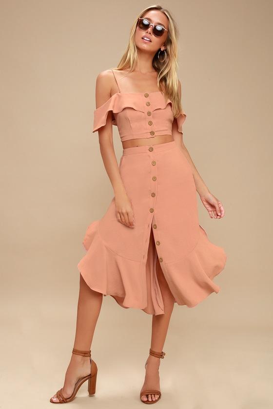 75827b87f Mauve Pink Two-Piece Dress - Off-the-Shoulder Dress