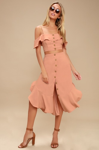 c0c786f91fe6 Malta Mauve Pink Off-the-Shoulder Button-Up Two-Piece Dress