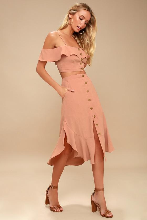 65cf1577822c Mauve Pink Two-Piece Dress - Off-the-Shoulder Dress