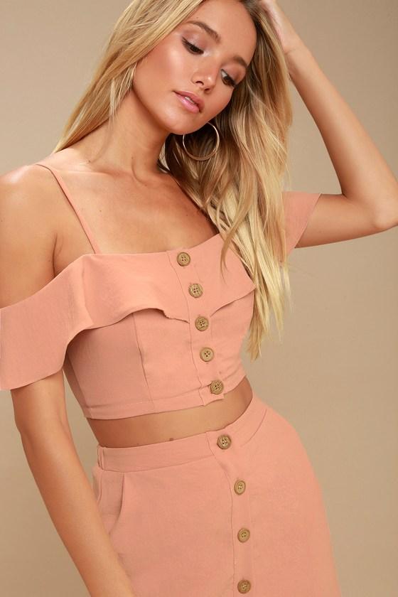f3ed82c6e Malta Mauve Pink Off-the-Shoulder Button-Up Two-Piece Dress