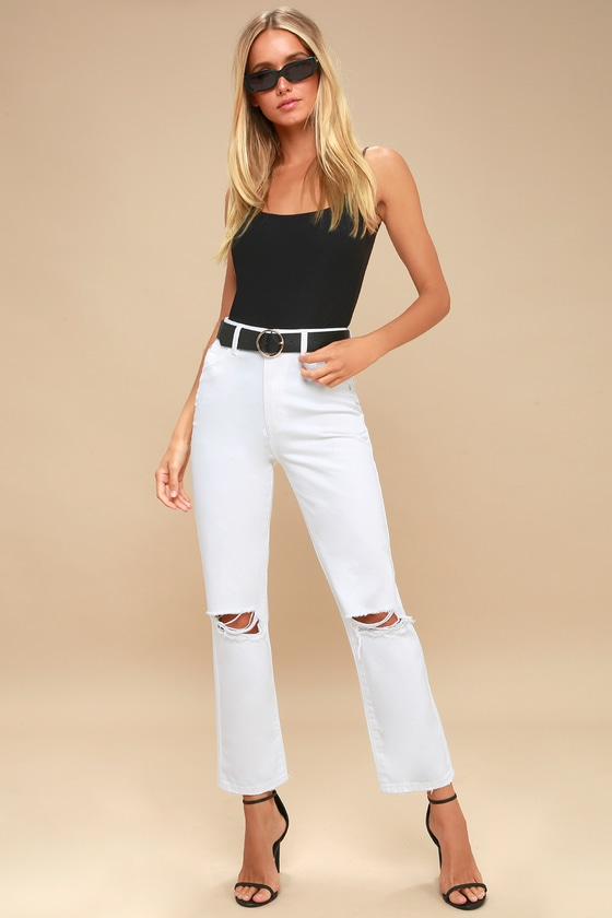 67799bbe797f Rolla's Original Straight - White Jeans - Distressed Jeans