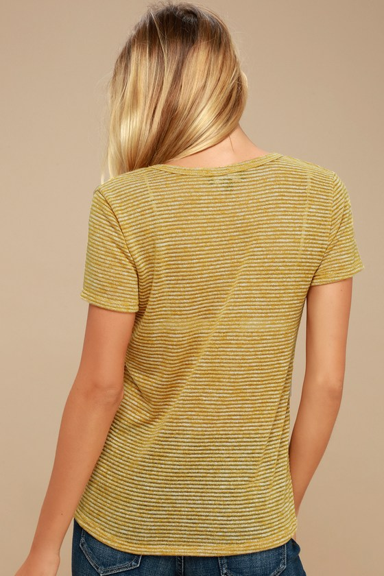 9dbdb33342 Cute Striped T-Shirt - Mustard Yellow Tee - Burnout Tee