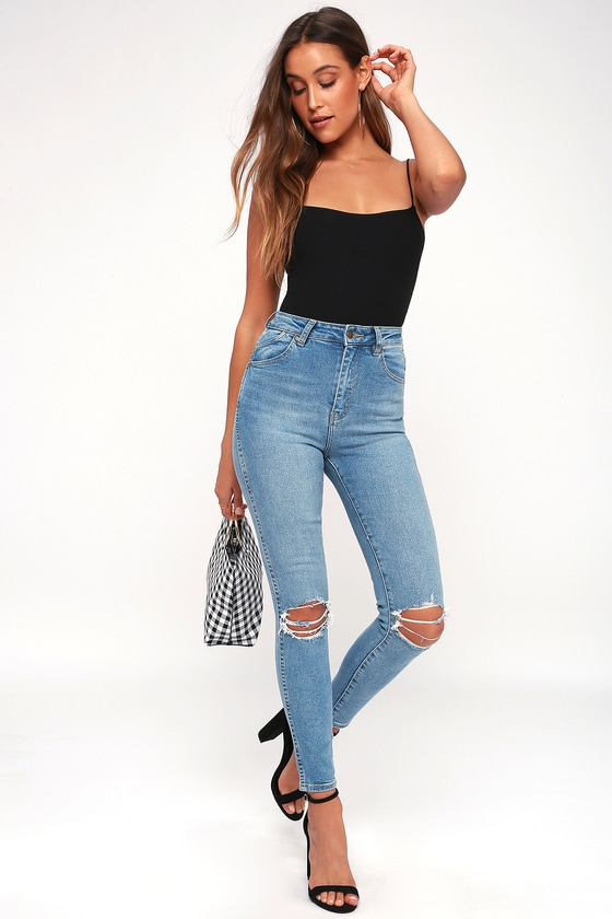 Rolla's EASTCOAST ANKLE LIGHT WASH DISTRESSED HIGH-WAISTED SKINNY JEANS