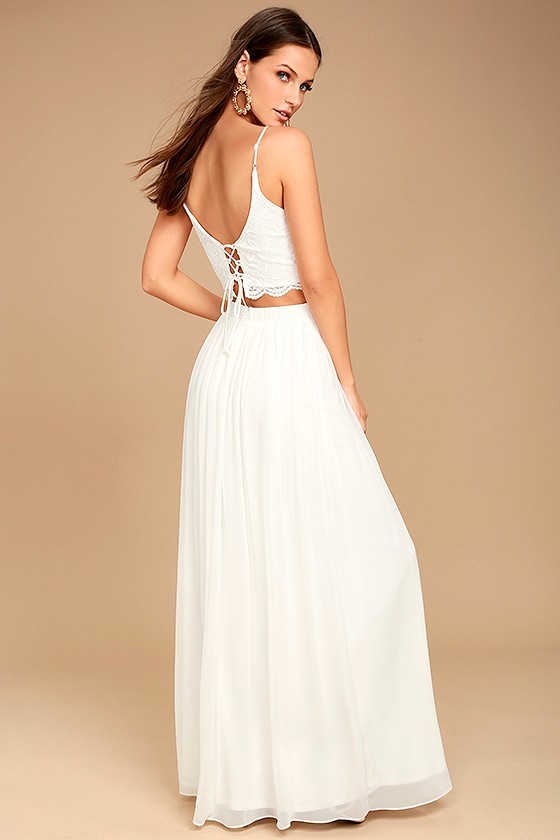 8e1ce2fdf0 Sexy White Dress - Lace Dress - Two-Piece Dress - Maxi Dress