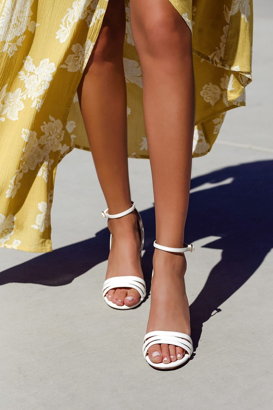 Shayla White Ankle Strap Heels