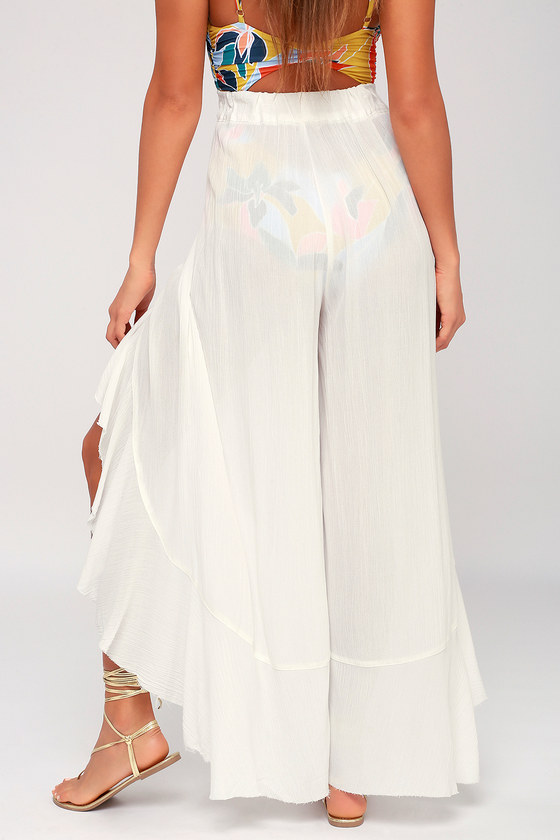25d30a89bf75 White Sheer Pants - Tie-Front Pants - Cover-Up Pants