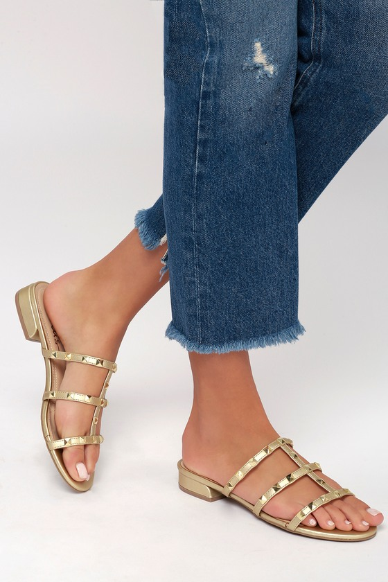 e5260477679df Cute Studded Sandals - Champagne Sandals - Slide Sandals