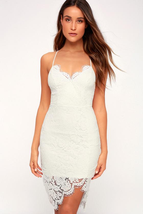 4ec2cc2c12 White Lace Dress - Lace Bodycon Dress - White Dress - LWD