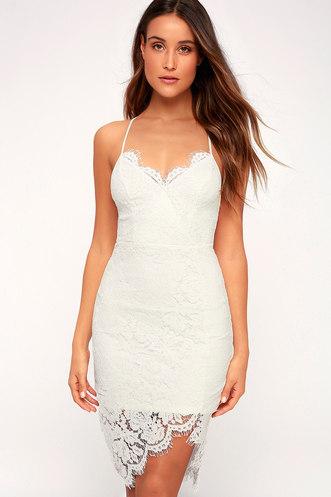 d51d1e4ddd Flirting with Desire White Lace Bodycon Dress
