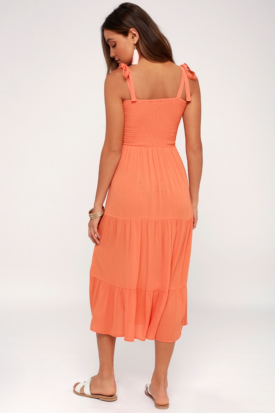 a158c90844 Cute Swim Cover-Up - Smocked Dress - Coral Swim Cover-Up