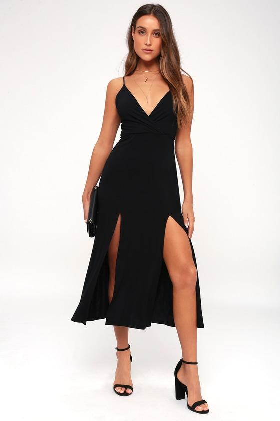 7f1c4136ada Chic Black Dress - Midi Dress - Sleeveless Dress