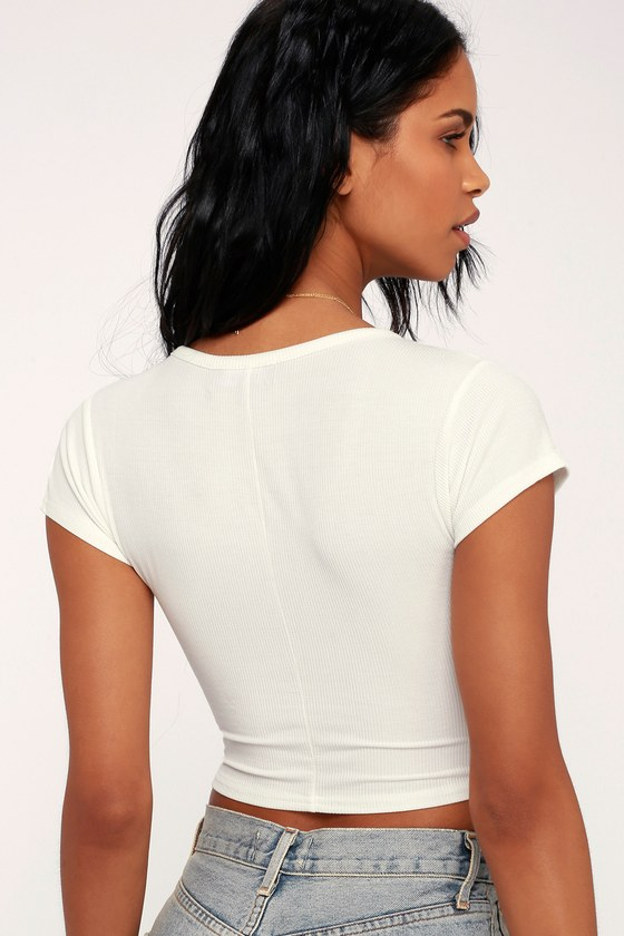 52de941a0ed Cute Ribbed Top - White Crop Top - Short Sleeve Crop Top