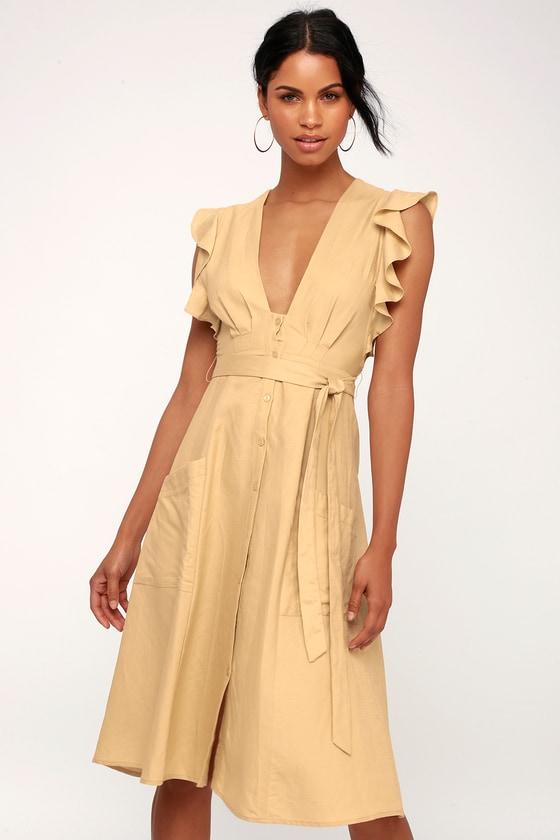 4c5faed0f310 ASTR the Label Carolina - Beige Button-Front Midi Dress