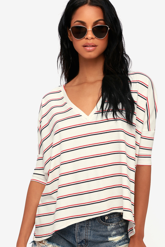 Starting Line Ivory Striped Tee - Trendy Striped Blouse