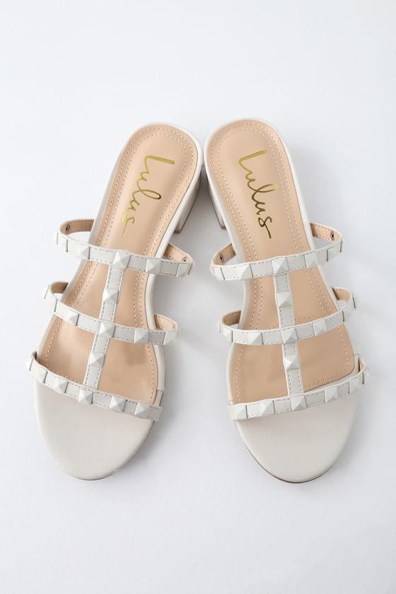 Lulus Mckenzie Ivory Studded Slide Sandal Heels - Lulus 7mbNN9yR