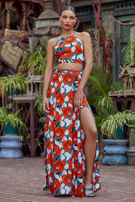 69db6f1690a Red Dress -Floral Print Dress - Maxi Dress - Two-Piece Dress