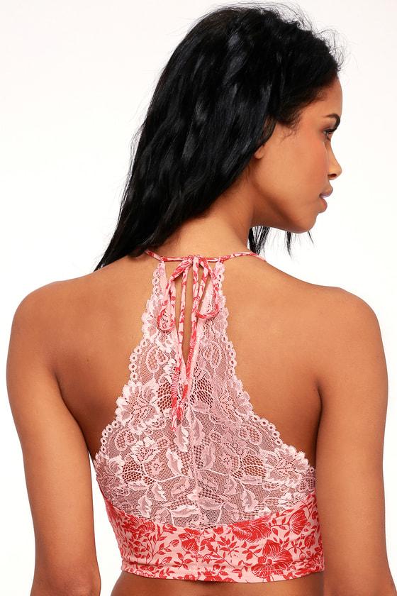 1413d78c8e Free People Century - Pink Floral Print Brami - Lace Brami