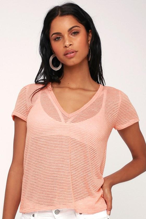 f23dab5bfd Cute Striped T-Shirt - Peach Knit Tee - Burnout Tee