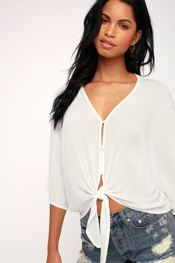 a8db14ad Chic White Top - Tie-Front Top - Button-Up Top