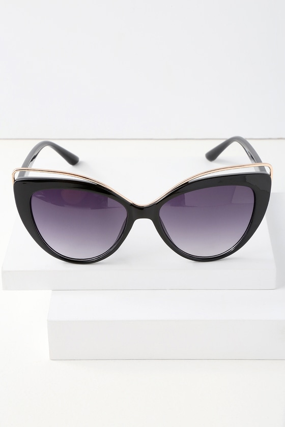GROOVY BABY BLACK CAT-EYE SUNGLASSES