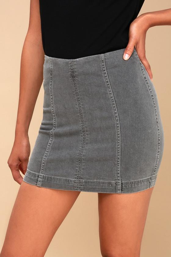 b8379f9dbd47 Free People Modern Femme - Grey Denim Skirt - Mini Skirt