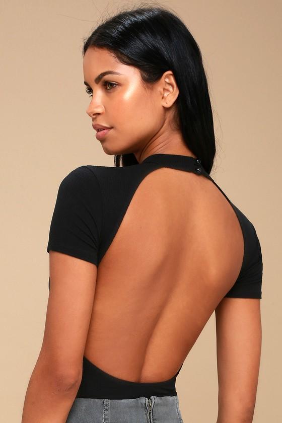 402ac42076 Black Bodysuit - Backless Bodysuit - Mock Neck Bodysuit