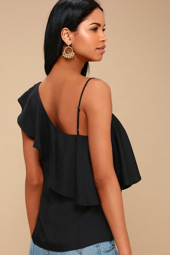 391c235d37e9 Cute Black Top - One-Shoulder Top - Satin Top