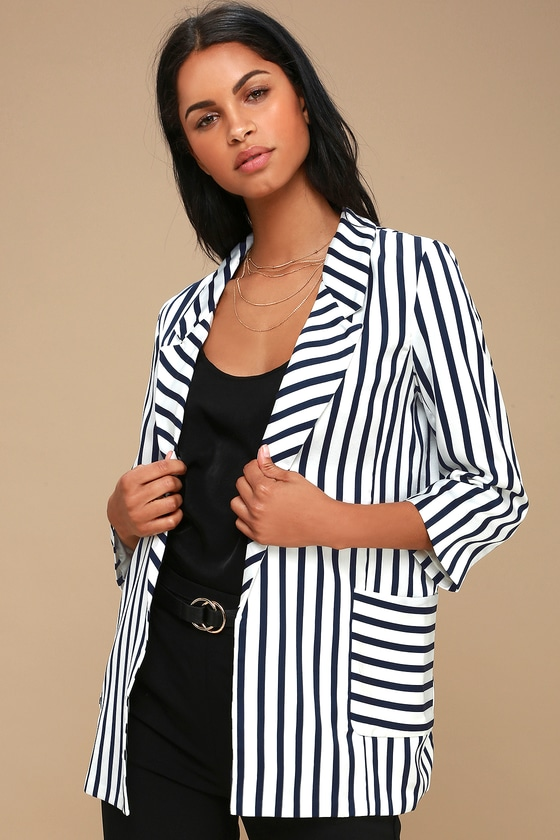 RALSTON BLUE AND WHITE STRIPED SATIN BLAZER