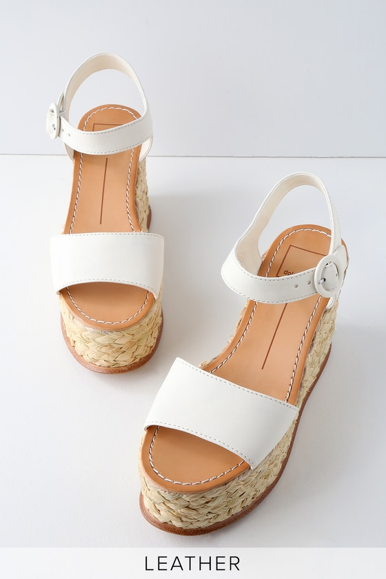 Lulus Dane Off- Leather Espadrille Platform Wedges - Lulus bDH63xk