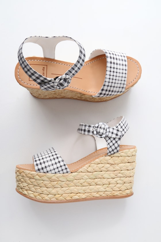 654602da1080 Dolce Vita Dane - Gingham Platform Wedges - Espadrille Wedge
