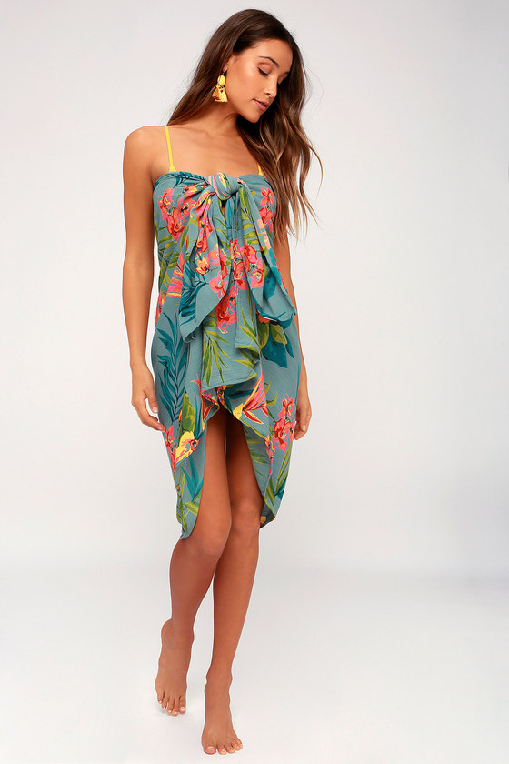 7d9611e40e So Right Sarong Teal Green Tropical Print Swim Cover-Up