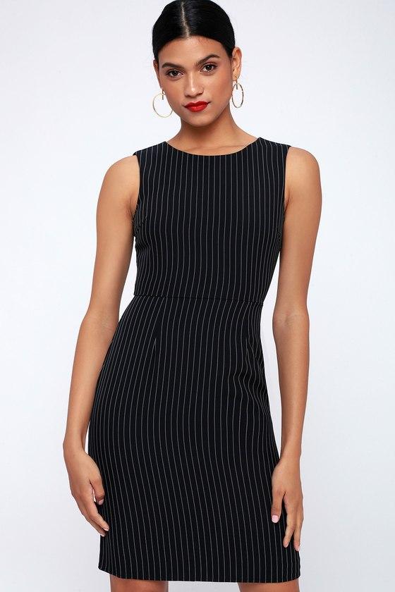 You Better Work Black Pinstripe Sleeveless Sheath Dress by Lulus